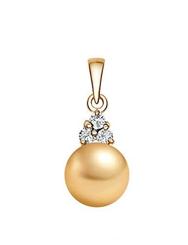 Pendentif Perle de culture de Mer du sud de qualité AAA Doré 14K avec diamants or jaune