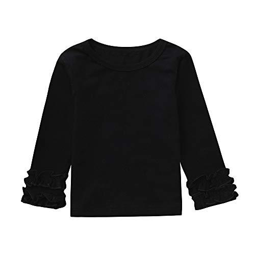sunnymi Für 1-4 Jahre Baby Mädchen T-Shirts Cartoon Tops Langarm Rüschen Kleider (24 Monate, Schwarz)