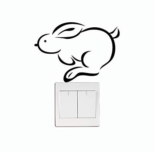 TNIEG Schalter Aufkleber PVC Vinyl niedlichen laufenden Kaninchen Vinyl wandaufkleber kreative Cartoon Tier wandtattoos kinderzimmer Schlafzimmer Dekoration 15 cm * 10,6 cm