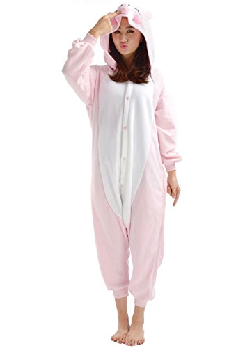 SAMGU Tier Onesie Pyjama Cosplay Kostüme Schlafanzug Erwachsene Unisex Animal Tieroutfit tierkostüme Jumpsuit Rosa Schwein(Größe M) (Adult Schwein Kostüm)