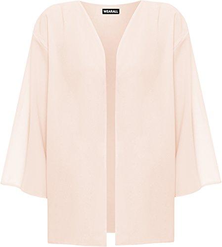 WearAll - Plus Taille 3/4 manches Kimono Cardigan Haut - Cardigans - Femmes - 44 à 54 Pêche