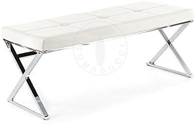 Banco Maxim–Estructura de metal cromado–Asiento recubierto de piel sintética blanco L. 120cm