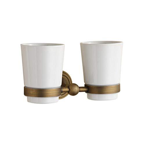 CZOOR Europäischer Stil Kupfer antiken doppelten Getränkehalter Retro rustikalen Stil Getränkehalter -