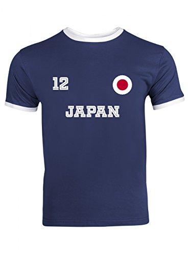 Japan Weltmeisterschaft 2018#24 Ringer T-Shirt Fan Trikot Fußball WM Nationalmannschaft Herren Trikot, Farbe:Dunkelblau Weiß (Navy White F159);Größe:XXL