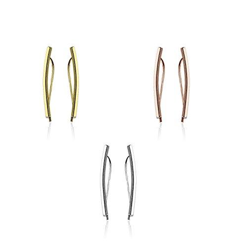beyoutifulthings 1 Paar Ohrklemmen gebogener BALKEN 23 x 2mm Set Ohringe Ohr-ringe Ohr-clip Ohr-stecker Chirurgenstahl Silber Gold Roségold