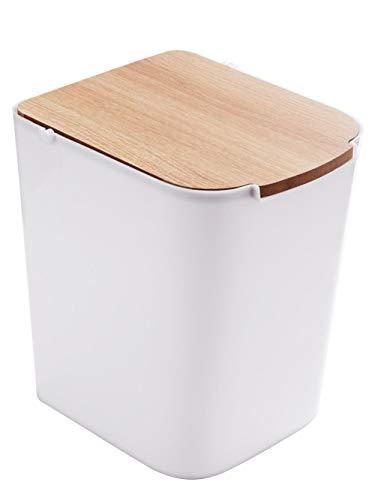 er Square Papierkorb Badezimmer mit Deckel Garbage Zimmer Küche Wohnzimmer Kunststoff Mülleimer, Weiß ()