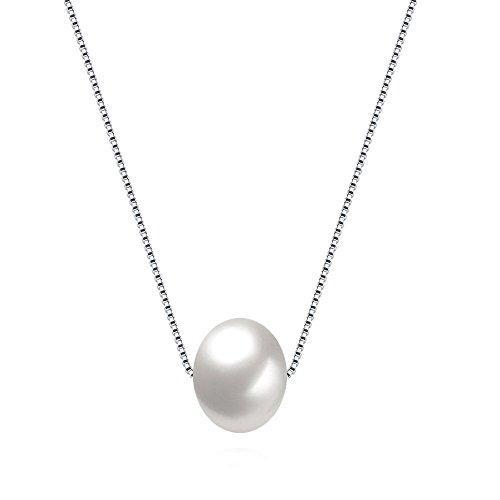 Kim Johanson Damen Perlenkette 'Stella' aus 925 Sterling Silber mit einer echten weißen Süßwasser Perle inkl. Schmuckbeutel