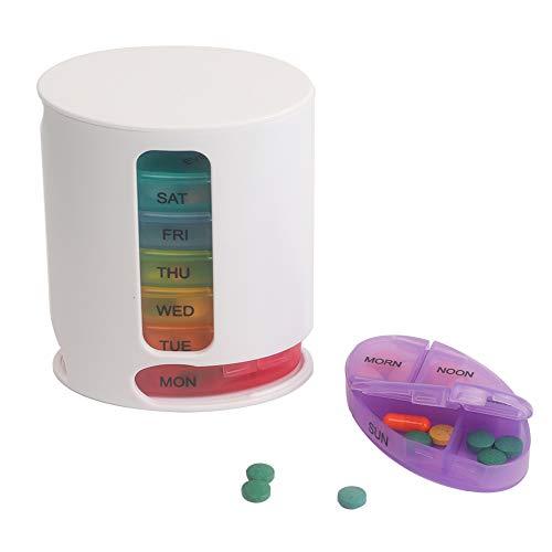 Shintop Pillendose 7 Tage, Tablettenhalter Wöchentlicher Medizinbehälter mit 28 Fächern für Reise und Täglichen Gebrauch (Mehrfarbig) - Brief-fach Deckel