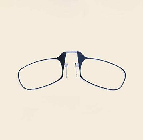 JBHURF Tragbare Lesebrille Ultraleichte Klappclip Nase Lesebrille für Männer und Frauen mit doppeltem Verwendungszweck Legless Brille (Farbe : SCHWARZ, größe : +1.0X)
