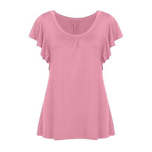 Women Short Sleeve V Neck Pleated Tops Casual Flowy Tunic Blouse Top Tee Shirt