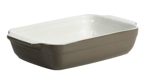 Crealys 512728 Auflaufform mit Keramikgriffen, oval, 25x15x5cm, Graubraun Kleine Keramik