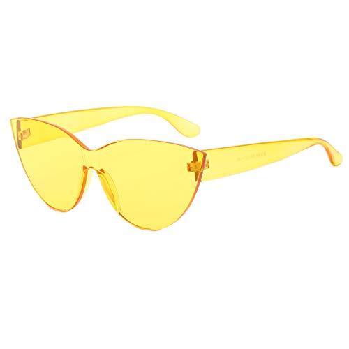 Hniunew Mode Damen Oversized ÜBergroßE Sonnenbrille Reizvolle Retro Herz-Randlose Sonnenbrille Damen Frauen Luxusmarken Entwerfer Sonnenbrille Eyewear SüßIgkeit Farbe Uv400 Damenbrillen