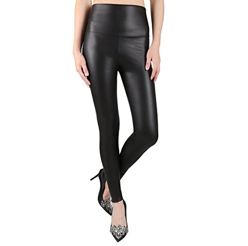 Schwarz Metallic-leggings (JNTworld Damen Frauen sexy Wet-Look glänzen/ glänzend Enge flüssige metallische faux Leder mit hoher Taille Bund Leggings Jeggings Petite Hoch , S , Matte/Matt Schwarz)