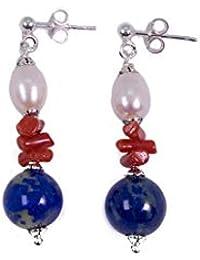 d4dedf28ca VTP10000375 - Delizioso orecchino pendente da donna in argento 925 rodiato,  corallo rosso, lapislazzuli blu e perle…