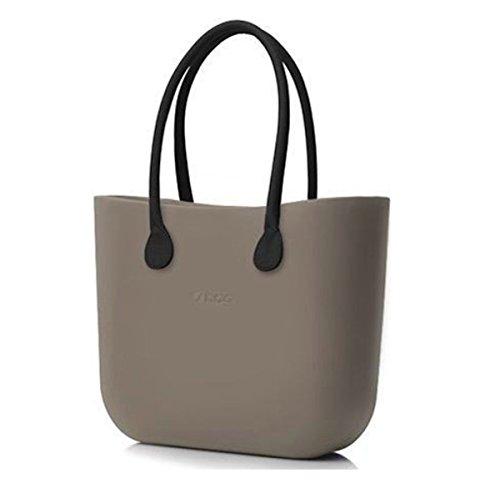 Borsa o bag scocca roccia+manici lunghi marroni+sacca