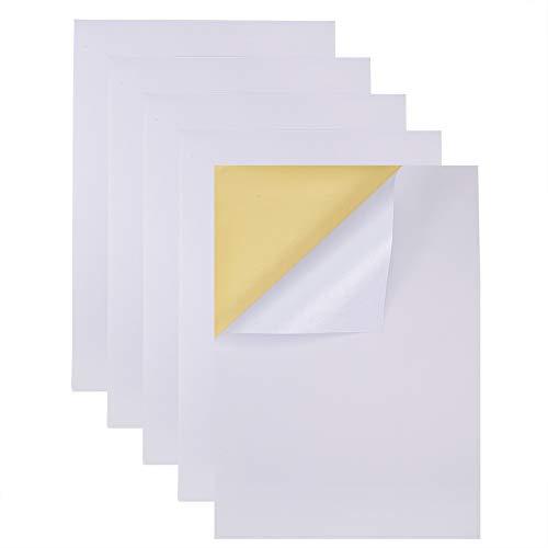 BENECREAT 50 Hojas Pegatina Adhesiva Papel de A4 Etiqueta en Blanco de Papel...
