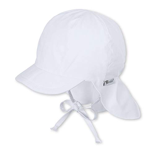 Sterntaler Unisex Schirmmütze mit Nackenschutz und Bindebändern, Alter: 18-24 Monate, Größe: 51, Weiß (Weiss 500) (Babys Sonne)