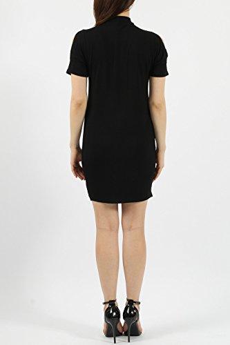 Ladies Lace & Eyelet Slash Shoulder Bodycon Dress EUR Taille 36-42 Noir