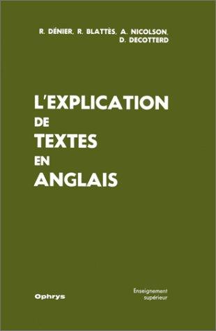 L'explication de textes en anglais