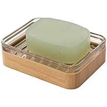 MetroDecor mDesign Jabonera de bambú - Práctico y ecológico Soporte para  jabón de Aspecto Natural Que 0a4ae613f10a
