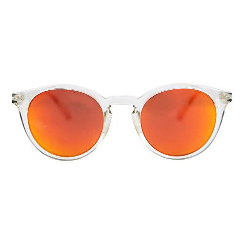 MessyWeekend Hobbes - Runde Sonnenbrille Damen, Herren - Kristall Rot Revo Dänische Designer Sonnenbrille mit UV400 Schutz