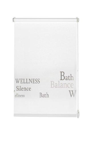 Gardinia 30931 Easyfix Bath - Estor para Fijar y Pegar (75x150cm), diseño con Texto en Gris, Color Blanco