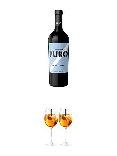 Dieter Meier Puro MALBEC CABERNET Rotwein Argentinien 0,75 Liter + Scavi & Ray Wein Glas 2 Stück
