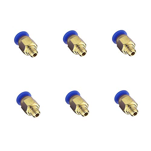 PC4-M6 Pneumatische Steckanschlüsse[6 Stück],Zhuoke 4mm PC4-M6 Pneumatische Luft gerade Schnellverschraubung für 3D-Drucker