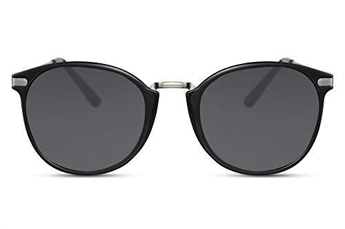 Cheapass Sonnenbrille Rund Schwarz Glänzend Getönt UV-400 Vintage Designer-Brille Metall Damen Herren