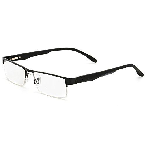 VEVESMUNDO Lesebrillen Herren Damen Klassische Metall Halbrandbrille Lesehilfe Federschaniere Klar Brille Augenoptik Vintage Sehhilfe Arbeitsplatzbrille Sehstärke