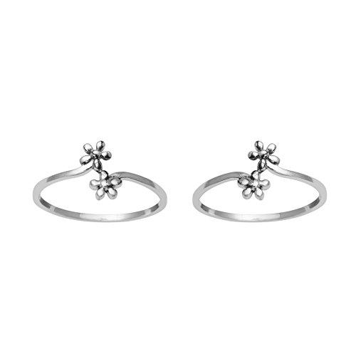 Shine Jewel White Sterling Silver Flower Design Toe Ring for Women