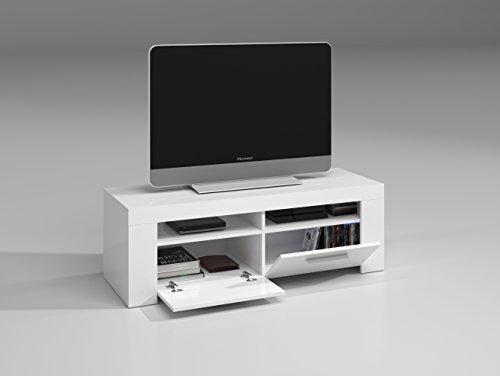 Habitdesign (006621BO)   Mueble de comedor moderno , Color blanco brillo, dimensiones 120 cm de ancho x 42 cm de profundidad x 40 cm de altura