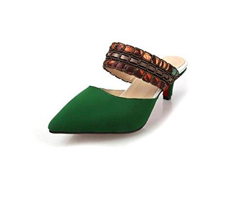 Pointu talon hauts talons cuir sandales national wind cool pantoufles printemps et été Green