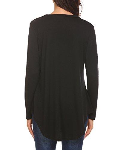 Plunge Damen Langarmshirts Lose V Ausschnitt Shirt Elegant Oberteile Tops Tshirt Bluse Schwarz