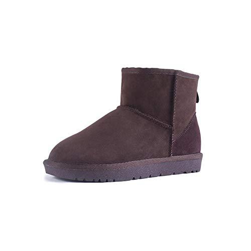 FF Schneeschuhe Weibliche Kurze Stiefel Warme Baumwolle Schuhe Student Verdicken Plus SAMT Echtem Leder Rindsleder Flache Rutschfeste damenstiefel (Farbe : Brown, Size : EU39/UK6/CN39)