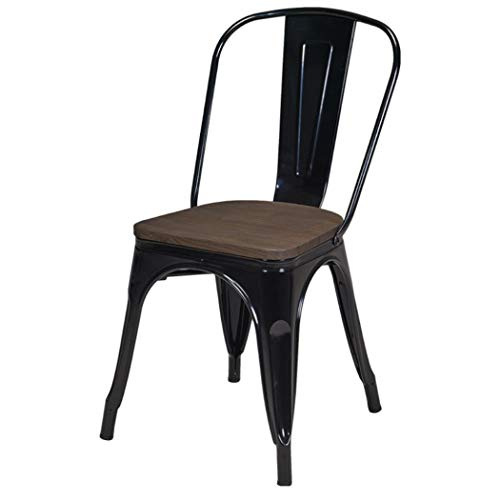 Duhome 1x Esszimmerstuhl Schwarz Stuhl aus Metall/Eisen Sitzfläche aus Holz Farbauswahl Küchenstuhl stapelbar, robust & zeitlos 666