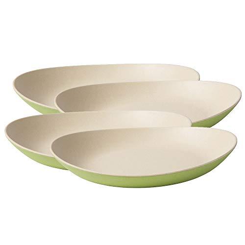 BIOZOYG Ensemble d'assiette Bambou de Haute qualité I Plat pour Enfant, gâteau et Service I Vaisselle Bambou Bio I 4 x Assiettes ovales de mélamine Naturelle Blanc/Vert 25 x 21 cm