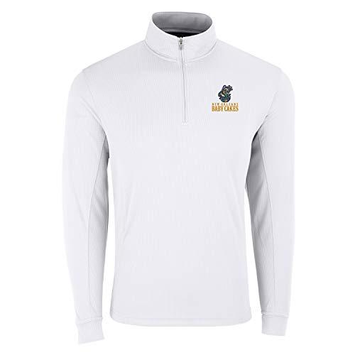 Vantage Apparel Minor League Baseball Quarter Zip Pullover, Herren, MiLB 1/4 Zip Pull Over, weiß, XXX-Large - Fluggesellschaften, Weißes T-shirt