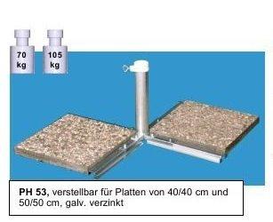 Sonnenschirmständer - aus 4 mm Ø DEUTSCHEM STAHL - STABIELO - LIEFERUNG ohne PLATTEN - MADE in BADEN WÜRTTEMBERG - FÜR STÖCKE BIS Ø 53 mm und 80 µ GALAVANISCH VERZINKTER PLATTENSTÄNDER bis STOCK Ø 53 mm aus Metall für GROSSSCHIRME zum Einlegen von BETONPLATTEN - DER STABIELO ® SCHIRM PLATTENSTÄNDER für Schirmstöcke bis Ø 53 mm - Sonnenschirmhalter - VERTRIEB - HOLLY PRODUKTE STABIELO ® - INNOVATIONEN MADE in GERMANY - holly-sunshade ® - PREISE SO LANGE VORRAT REICHT -