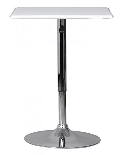 FineBuy Stehtisch Toni Bistrotisch Kunstleder Weiß höhen-verstellbar quadratisch | Design Bartisch Chrom robust eckig | Stehtisch Messetisch modern | Partytisch drehbar