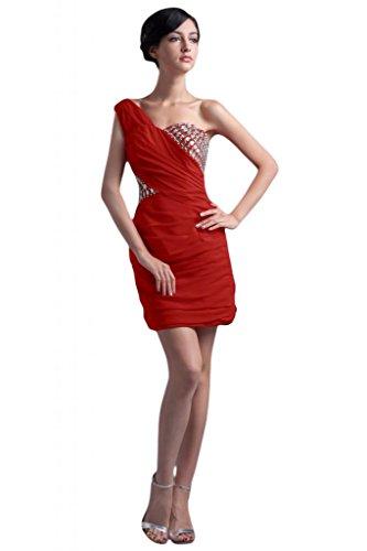 Sunvary elegante fodera in raso, abito asimmetrico per damigella d'onore Abito per feste a tema Rosso