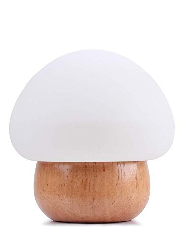 Lampe Led Champignon / Wooden Table Lamp WL01 / Original Lamp (Wood + Silicone) / Wireless Remote Control Included (16 Different Colors)