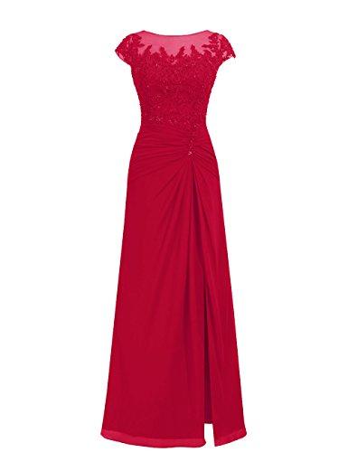 Dresstells, robe de soirée mousseline, robe de cérémonie, robe longueur ras du sol de demoiselle d'honneur Rouge Foncé