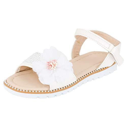 Mädchen Sandalen Sandaletten Kinder Schuhe mit Pailletten Klettverschluss M544ws Weiß 25 EU (Pailletten Mädchen Schuhe)