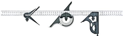 Starrett 9M-600 Cast Iron Square, Centre And Non-Reversible Protractor Heads With Regular Blade Combination Set, Black Wrinkle Finish, 600 mm Size