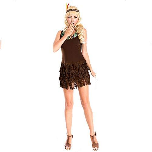 Olydmsky karnevalskostüme Damen Halloween-Kostüm Primitive eingeborene Kleid Fransen Stammes-Prinzessin Kleid Bühne Party Kostüm