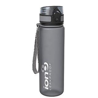 Ion8 auslaufsichere schlanke Wasserflasche / Trinkflasche, BPA-frei, 500ml / 18oz, Grau (Frosted Grey)