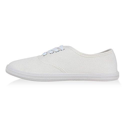 Herren Damen Unisex Sneakers Low Freizeit Turnschuhe Schuhe Bequem Weiss Weiss