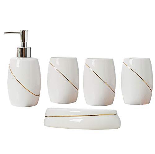 Ddl Badzubehör-Set aus Keramik, 5-teiliges Badset, Badset Serie Marble Pattern Soap Set - Keramik-soap
