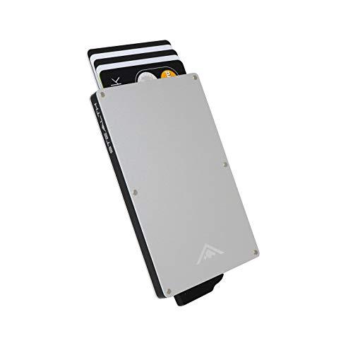 STEALTH Wallet - Porta carte di credito pop-up con blocco RFID minimalista in alluminio con confezione regalo Portafoglio per espulsore leggero e sottile con protezione (Argento)